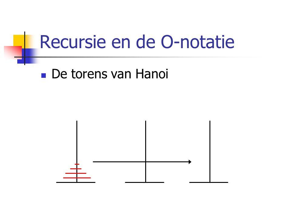 Recursie en de O-notatie De torens van Hanoi