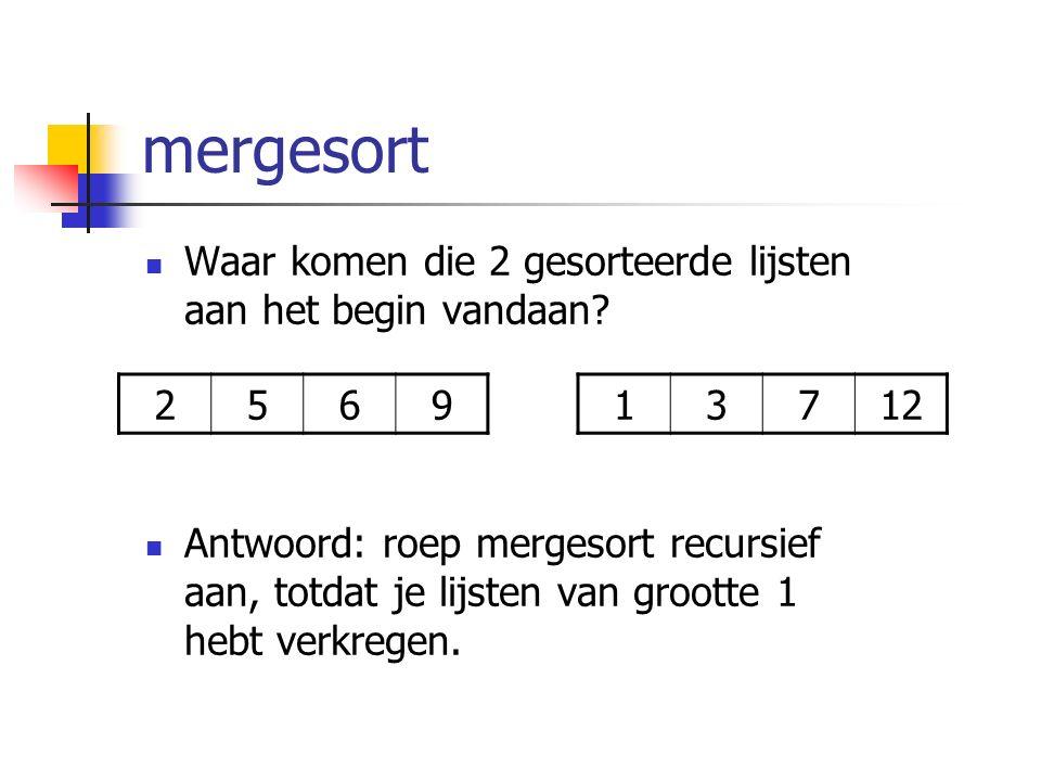 mergesort Waar komen die 2 gesorteerde lijsten aan het begin vandaan.