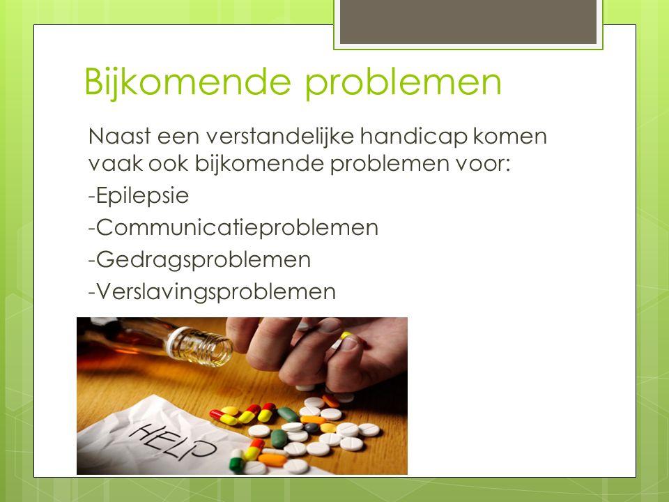 Bijkomende problemen Naast een verstandelijke handicap komen vaak ook bijkomende problemen voor: -Epilepsie -Communicatieproblemen -Gedragsproblemen -Verslavingsproblemen