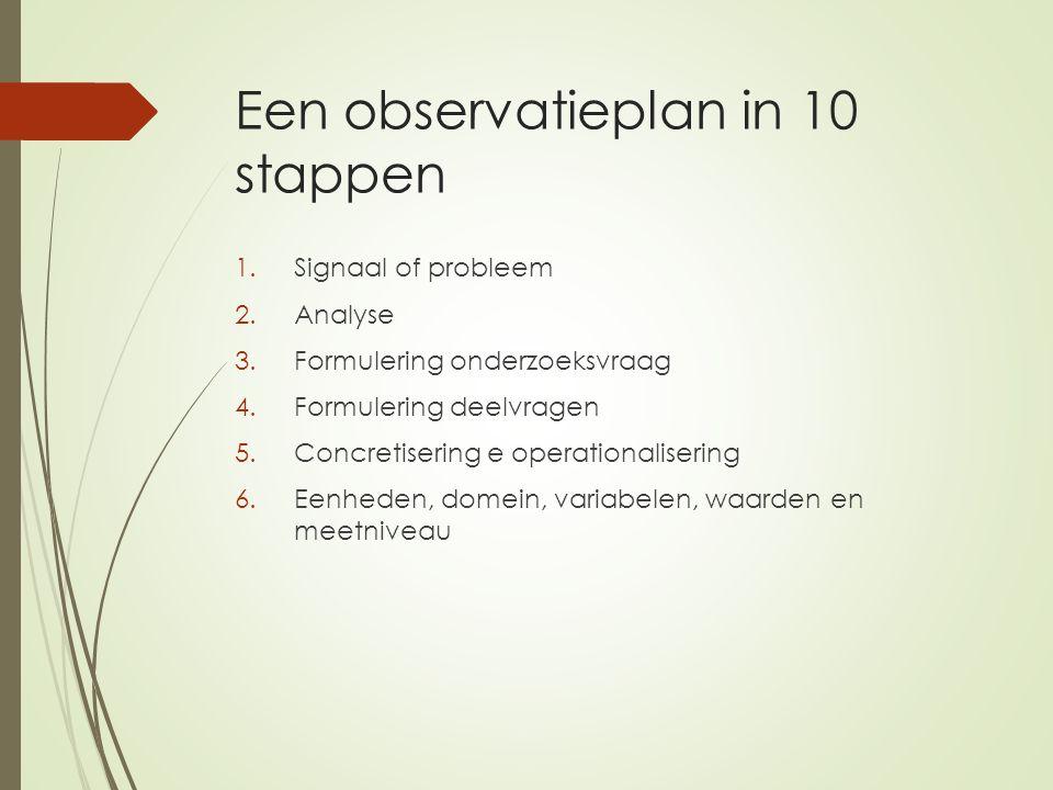 Een observatieplan in 10 stappen 1.Signaal of probleem 2.Analyse 3.Formulering onderzoeksvraag 4.Formulering deelvragen 5.Concretisering e operational