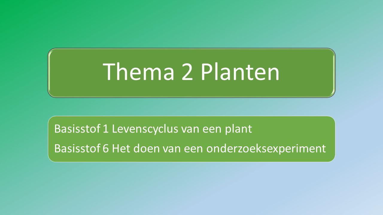 Thema 2 Planten Basisstof 1 Levenscyclus van een plant Basisstof 6 Het doen van een onderzoeksexperiment