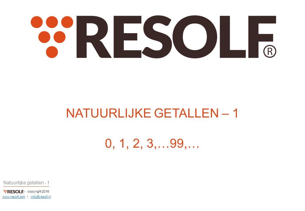 - copyright 2015 Natuurlijke getallen - 1 www.resolf.comwww.resolf.com / info@resolf.nlinfo@resolf.nl NATUURLIJKE GETALLEN – 1 0, 1, 2, 3,…99,…