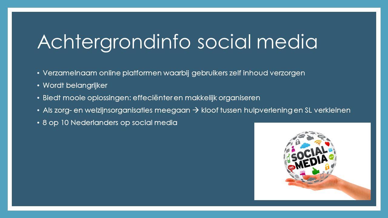 Achtergrondinfo social media Verzamelnaam online platformen waarbij gebruikers zelf inhoud verzorgen Wordt belangrijker Biedt mooie oplossingen: effeciënter en makkelijk organiseren Als zorg- en welzijnsorganisaties meegaan  kloof tussen hulpverlening en SL verkleinen 8 op 10 Nederlanders op social media