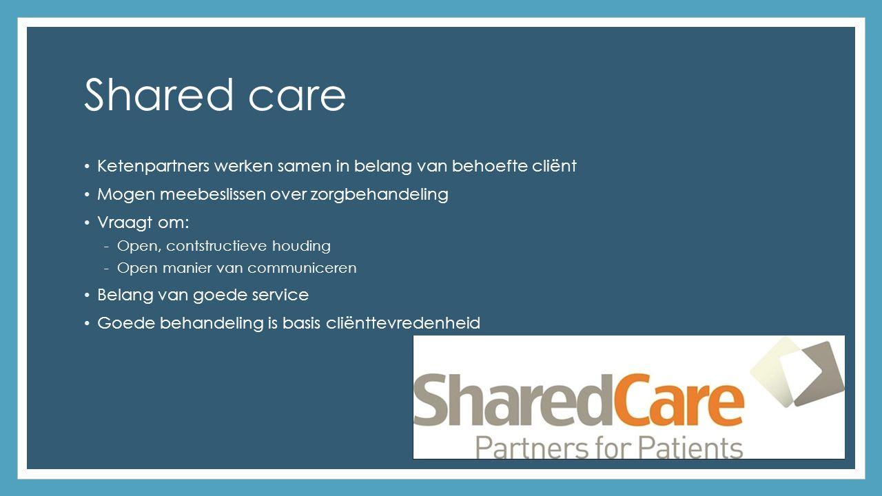 Shared care Ketenpartners werken samen in belang van behoefte cliënt Mogen meebeslissen over zorgbehandeling Vraagt om: -Open, contstructieve houding -Open manier van communiceren Belang van goede service Goede behandeling is basis cliënttevredenheid