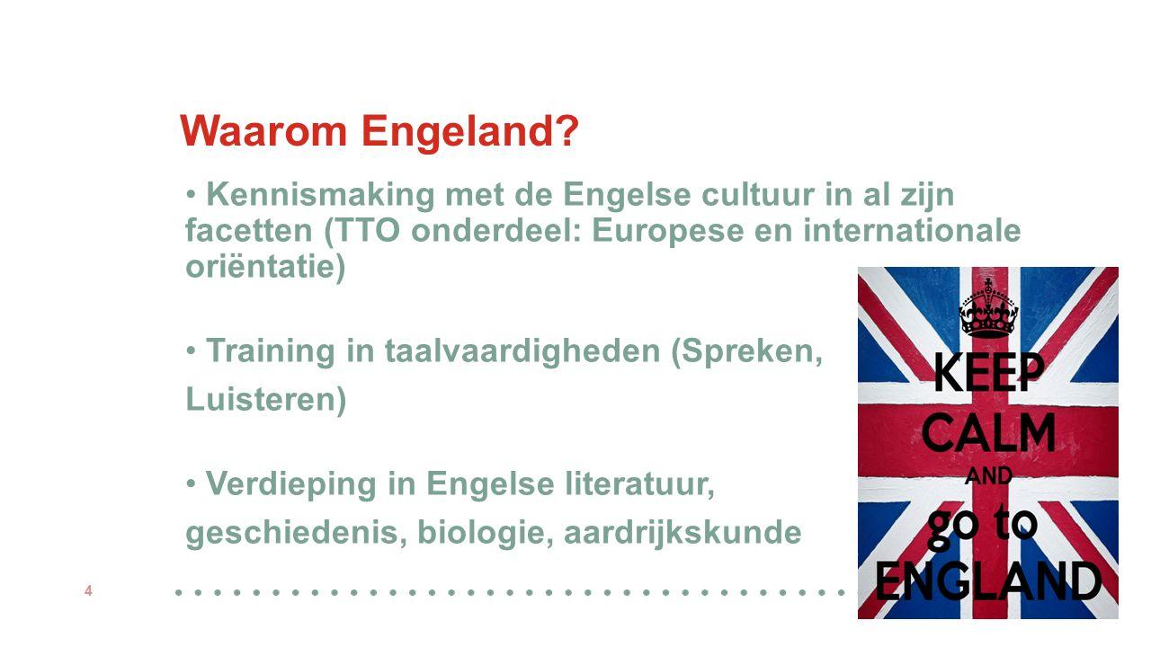 Waarom Engeland? 4 Kennismaking met de Engelse cultuur in al zijn facetten (TTO onderdeel: Europese en internationale oriëntatie) Training in taalvaar