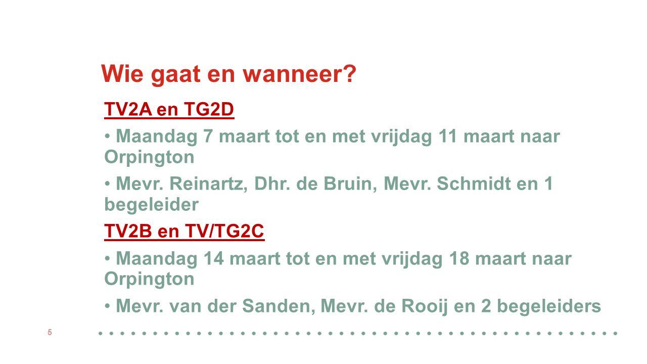 Wie gaat en wanneer? TV2A en TG2D Maandag 7 maart tot en met vrijdag 11 maart naar Orpington Mevr. Reinartz, Dhr. de Bruin, Mevr. Schmidt en 1 begelei