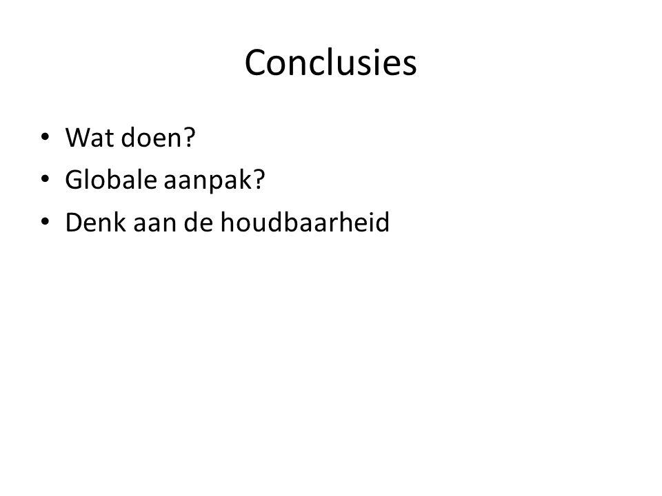 Conclusies Wat doen Globale aanpak Denk aan de houdbaarheid