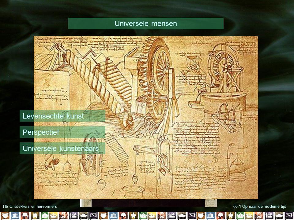 H6 Ontdekkers en hervormers§6.1 Op naar de moderne tijd Universele mensen Levensechte kunst Perspectief Universele kunstenaars