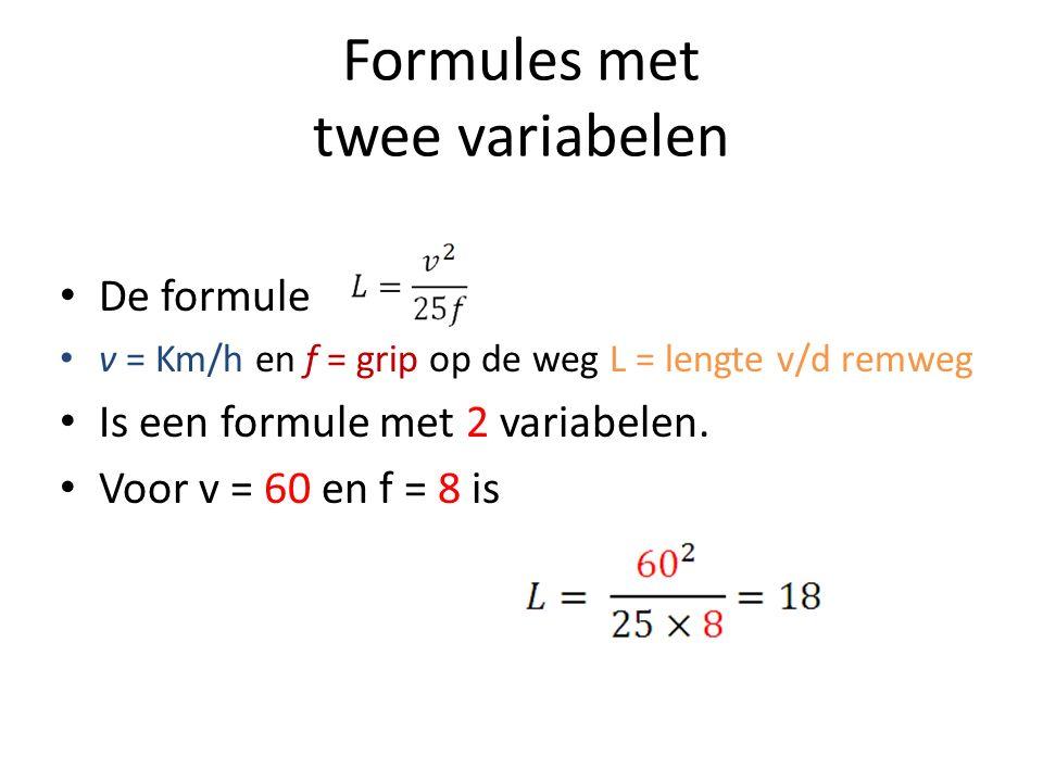 Formules met twee variabelen De formule v = Km/h en f = grip op de weg L = lengte v/d remweg Is een formule met 2 variabelen.