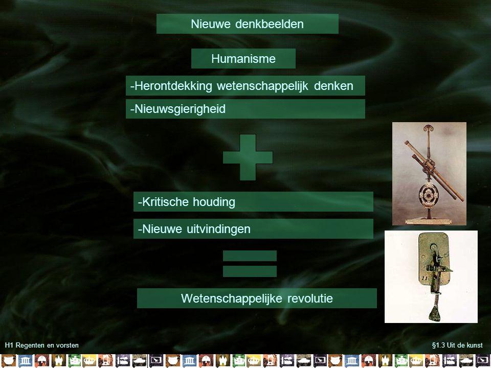 H1 Regenten en vorsten§1.3 Uit de kunst Nieuwe denkbeelden Humanisme -Herontdekking wetenschappelijk denken -Nieuwsgierigheid -Kritische houding -Nieuwe uitvindingen Wetenschappelijke revolutie