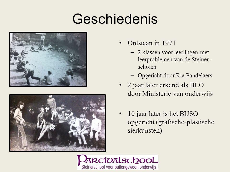 Geschiedenis Ontstaan in 1971 – 2 klassen voor leerlingen met leerproblemen van de Steiner - scholen – Opgericht door Ria Pandelaers 2 jaar later erkend als BLO door Ministerie van onderwijs 10 jaar later is het BUSO opgericht (grafische-plastische sierkunsten)