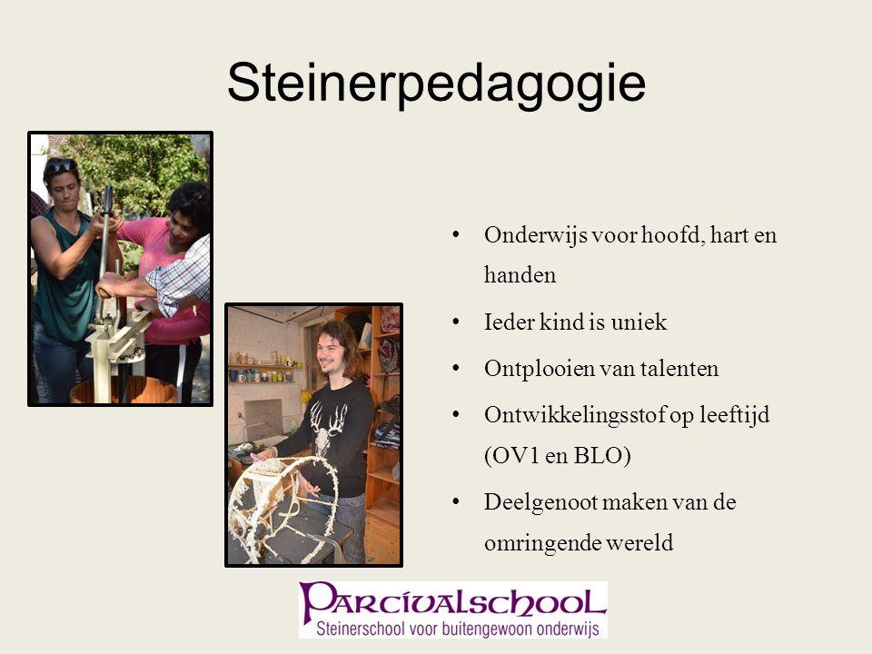 Steinerpedagogie Onderwijs voor hoofd, hart en handen Ieder kind is uniek Ontplooien van talenten Ontwikkelingsstof op leeftijd (OV1 en BLO) Deelgenoot maken van de omringende wereld