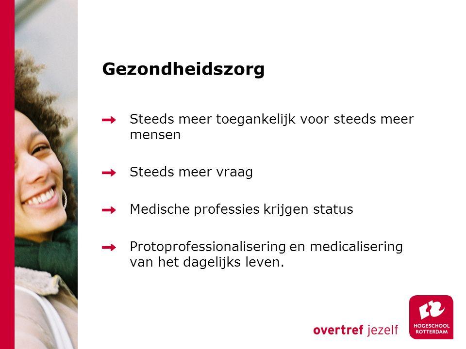 Gezondheidszorg Steeds meer toegankelijk voor steeds meer mensen Steeds meer vraag Medische professies krijgen status Protoprofessionalisering en medicalisering van het dagelijks leven.