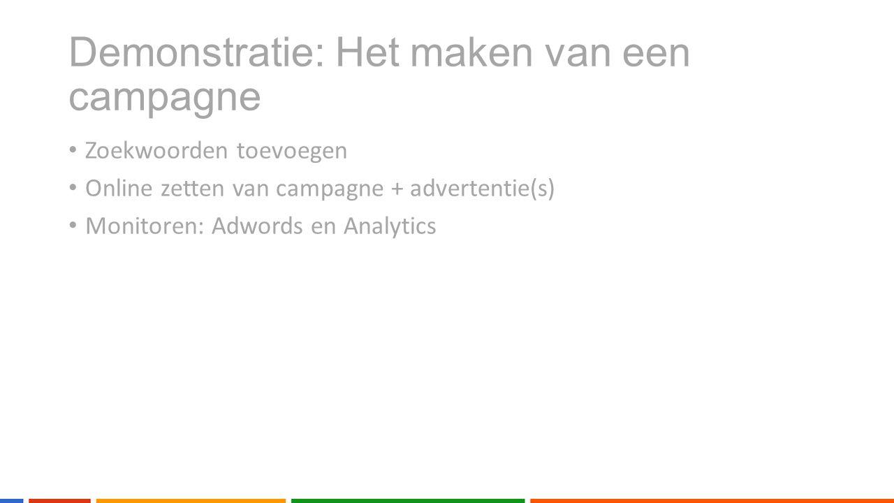 Zoekwoorden toevoegen Online zetten van campagne + advertentie(s) Monitoren: Adwords en Analytics