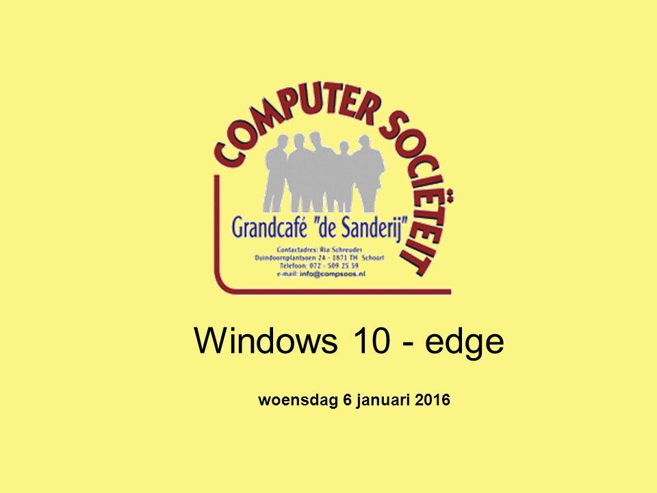 Windows 10 - edge woensdag 6 januari 2016