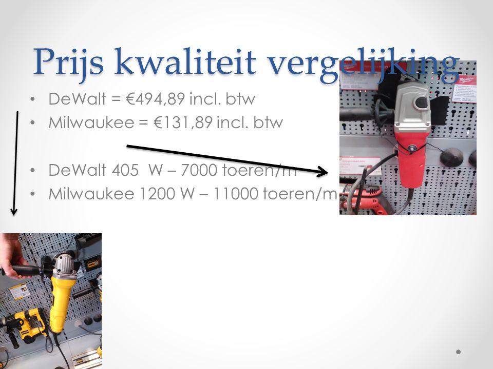 Prijs kwaliteit vergelijking DeWalt = €494,89 incl.