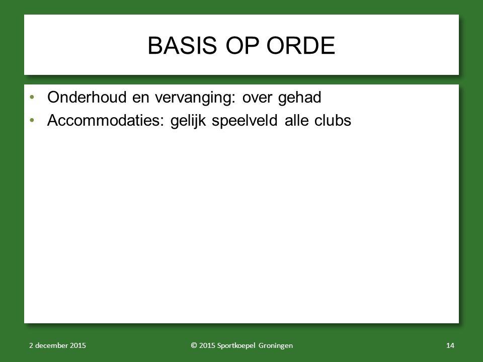 BASIS OP ORDE Onderhoud en vervanging: over gehad Accommodaties: gelijk speelveld alle clubs Onderhoud en vervanging: over gehad Accommodaties: gelijk