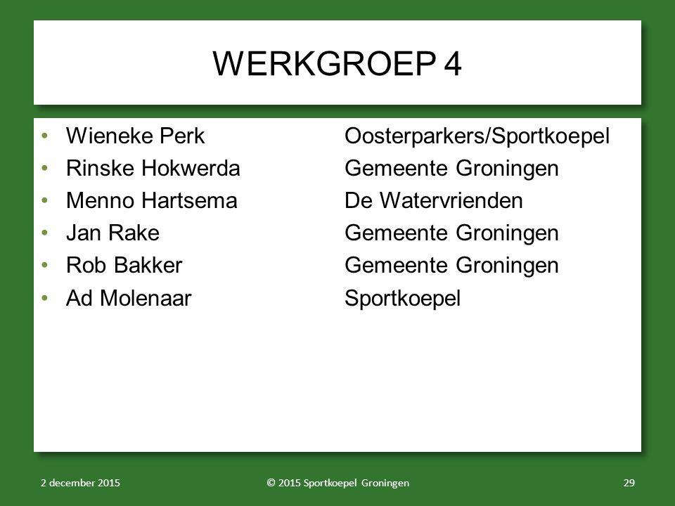 WERKGROEP 4 Wieneke PerkOosterparkers/Sportkoepel Rinske HokwerdaGemeente Groningen Menno HartsemaDe Watervrienden Jan RakeGemeente Groningen Rob Bakk