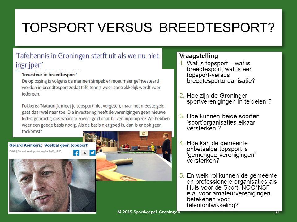 TOPSPORT VERSUS BREEDTESPORT? Vraagstelling 1.Wat is topsport – wat is breedtesport, wat is een topsport-versus breedtesportorganisatie? 2.Hoe zijn de