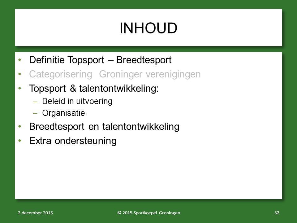 INHOUD Definitie Topsport – Breedtesport Categorisering Groninger verenigingen Topsport & talentontwikkeling: –Beleid in uitvoering –Organisatie Breed