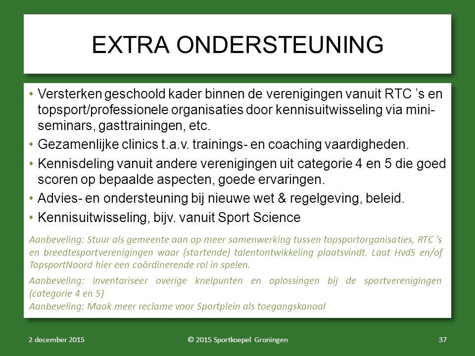 EXTRA ONDERSTEUNING Versterken geschoold kader binnen de verenigingen vanuit RTC 's en topsport/professionele organisaties door kennisuitwisseling via