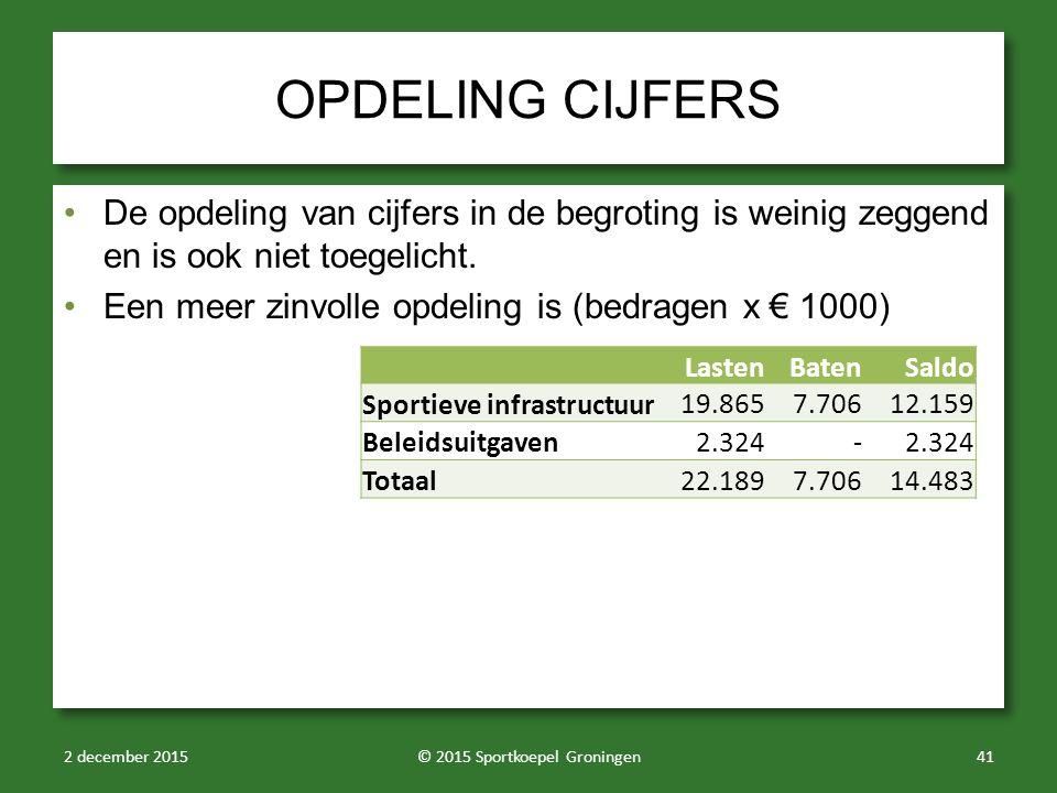OPDELING CIJFERS De opdeling van cijfers in de begroting is weinig zeggend en is ook niet toegelicht.