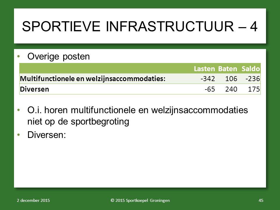 SPORTIEVE INFRASTRUCTUUR – 4 Overige posten O.i. horen multifunctionele en welzijnsaccommodaties niet op de sportbegroting Diversen: Overige posten O.