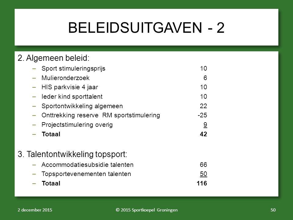 BELEIDSUITGAVEN - 2 2.