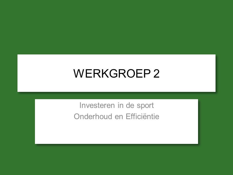 WERKGROEP 2 Investeren in de sport Onderhoud en Efficiëntie Investeren in de sport Onderhoud en Efficiëntie