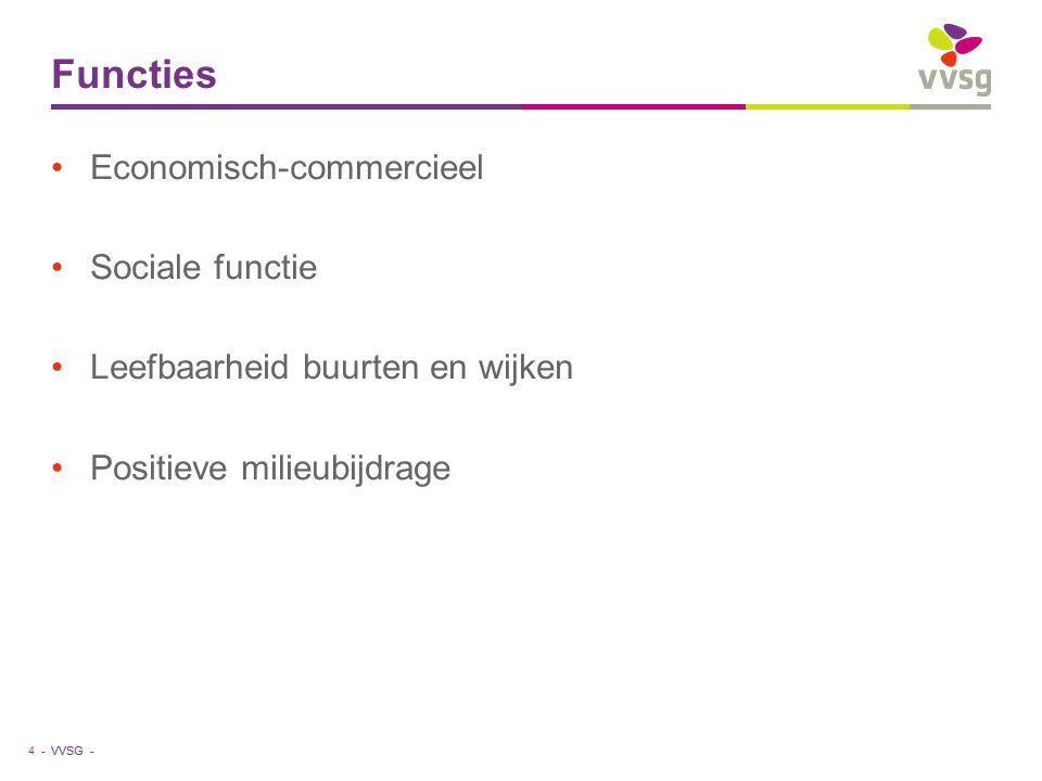 VVSG - Functies Economisch-commercieel Sociale functie Leefbaarheid buurten en wijken Positieve milieubijdrage 4 -