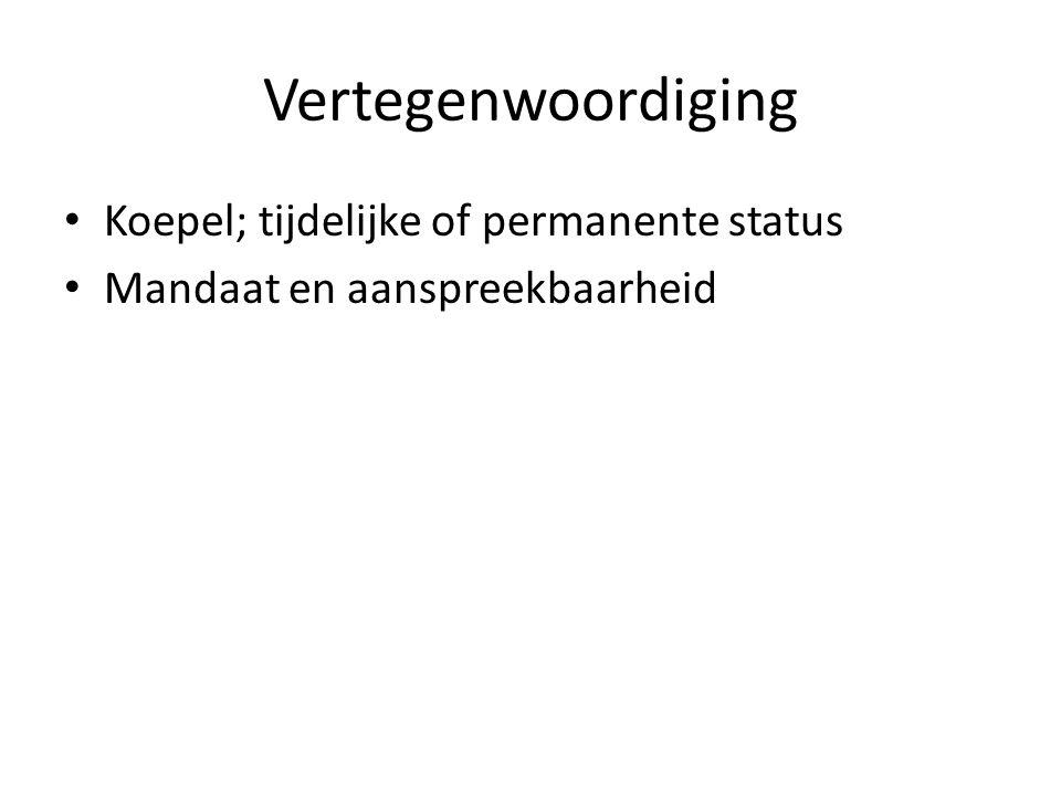 Vertegenwoordiging Koepel; tijdelijke of permanente status Mandaat en aanspreekbaarheid
