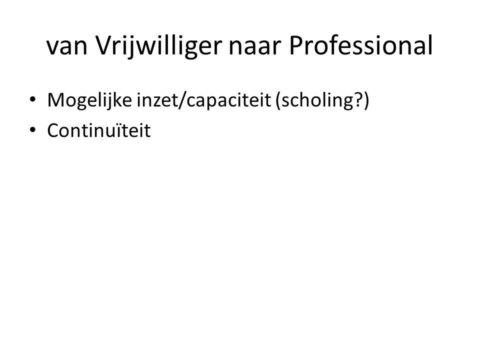 van Vrijwilliger naar Professional Mogelijke inzet/capaciteit (scholing?) Continuïteit