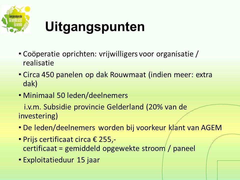 Uitgangspunten Coöperatie oprichten: vrijwilligers voor organisatie / realisatie Circa 450 panelen op dak Rouwmaat (indien meer: extra dak) Minimaal 50 leden/deelnemers i.v.m.