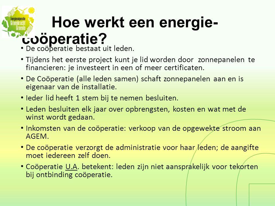 Hoe werkt een energie- coöperatie. De coöperatie bestaat uit leden.