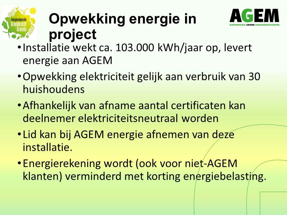 Opwekking energie in project Installatie wekt ca.