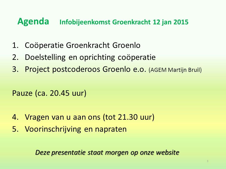 Agenda Infobijeenkomst Groenkracht 12 jan 2015 1.Coöperatie Groenkracht Groenlo 2.Doelstelling en oprichting coöperatie 3.Project postcoderoos Groenlo e.o.