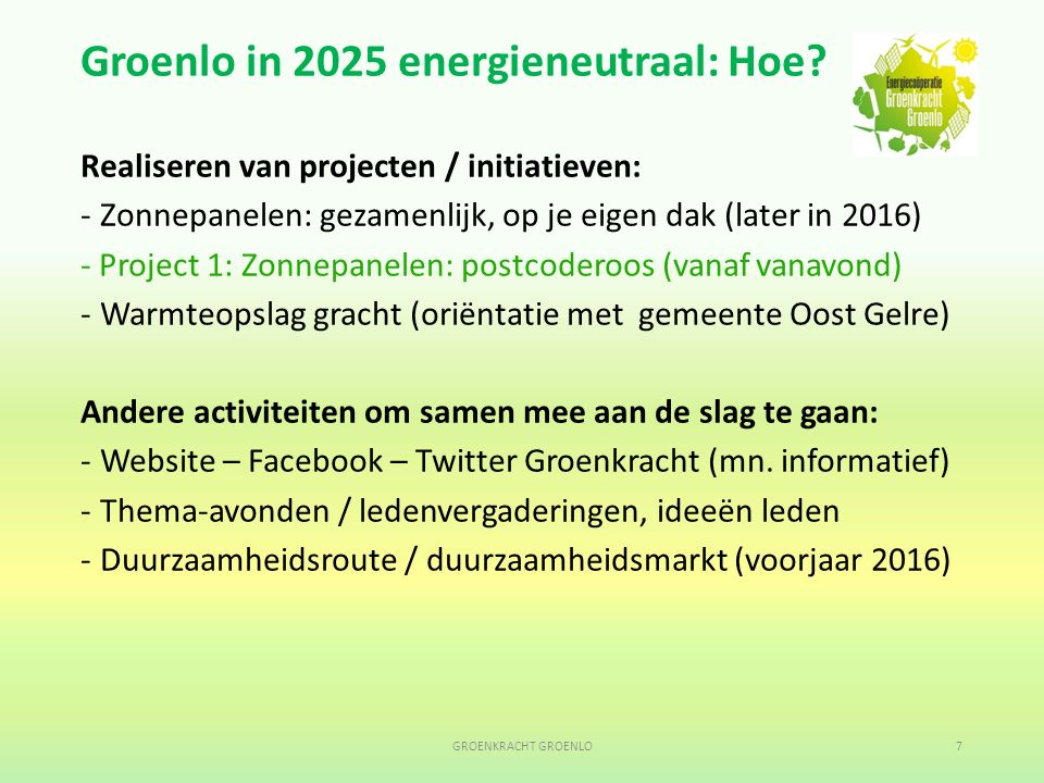 Groenlo in 2025 energieneutraal: Hoe.