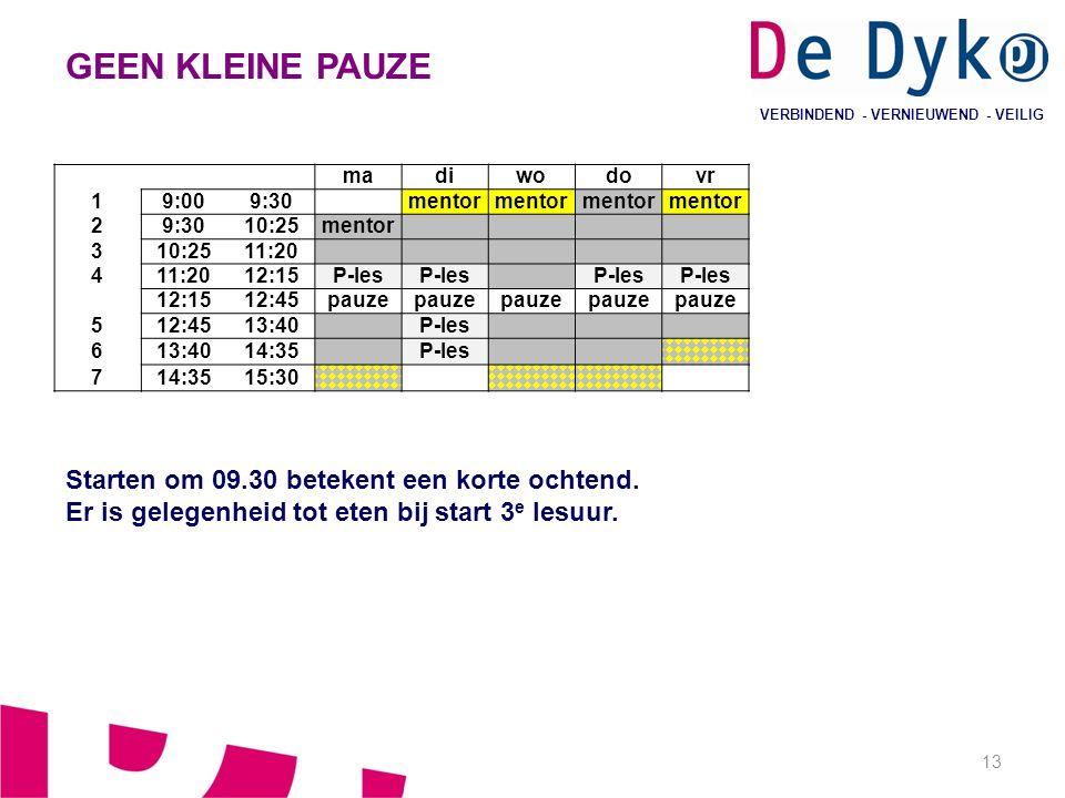 13 VERBINDEND - VERNIEUWEND - VEILIG GEEN KLEINE PAUZE Starten om 09.30 betekent een korte ochtend. Er is gelegenheid tot eten bij start 3 e lesuur. m