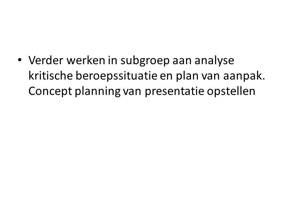 Verder werken in subgroep aan analyse kritische beroepssituatie en plan van aanpak.