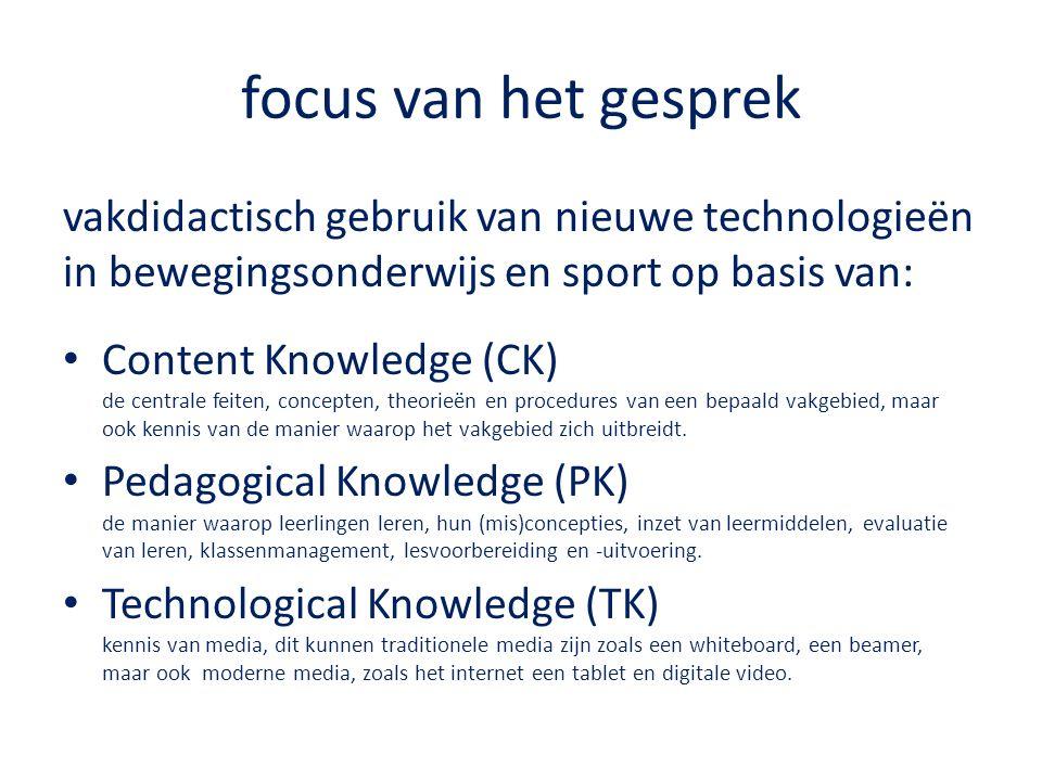 focus van het gesprek vakdidactisch gebruik van nieuwe technologieën in bewegingsonderwijs en sport op basis van: Content Knowledge (CK) de centrale feiten, concepten, theorieën en procedures van een bepaald vakgebied, maar ook kennis van de manier waarop het vakgebied zich uitbreidt.