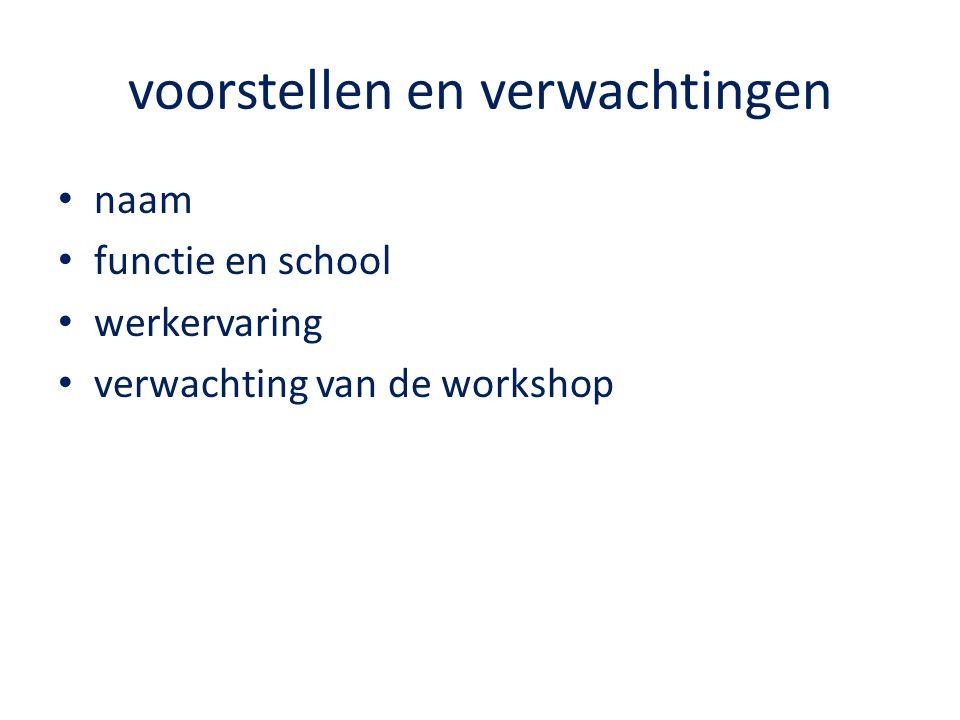 voorstellen en verwachtingen naam functie en school werkervaring verwachting van de workshop