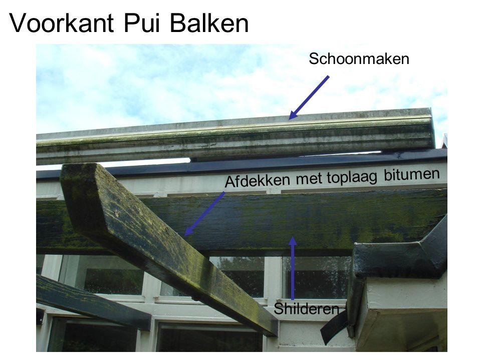 Voorkant Pui Balken Afdekken met toplaag bitumen Shilderen Schoonmaken