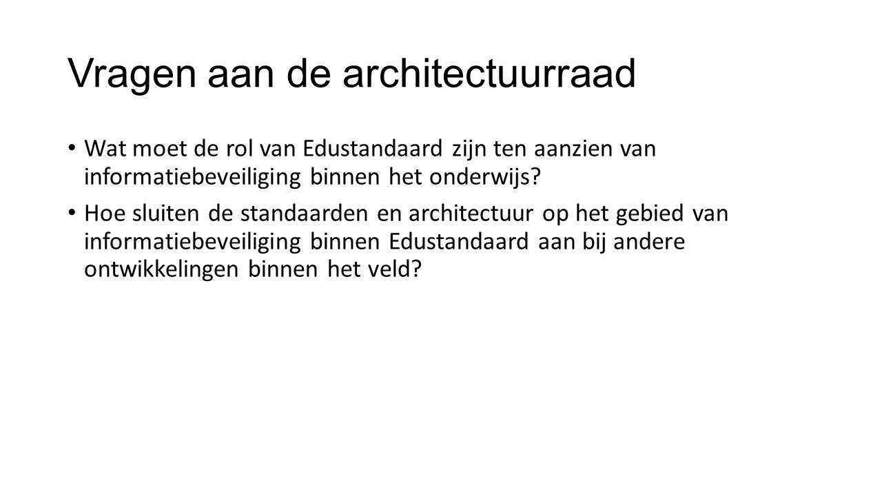 Vragen aan de architectuurraad Wat moet de rol van Edustandaard zijn ten aanzien van informatiebeveiliging binnen het onderwijs.