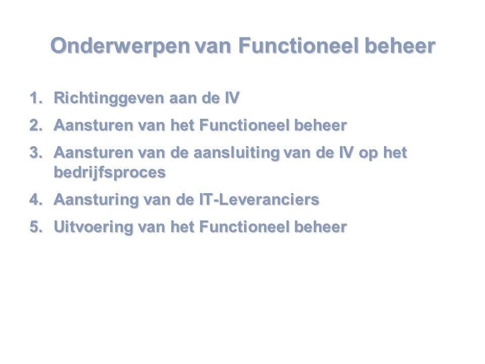 www.mensch-training.com Onderwerpen van Functioneel beheer 1.Richtinggeven aan de IV 2.Aansturen van het Functioneel beheer 3.Aansturen van de aansluiting van de IV op het bedrijfsproces 4.Aansturing van de IT-Leveranciers 5.Uitvoering van het Functioneel beheer