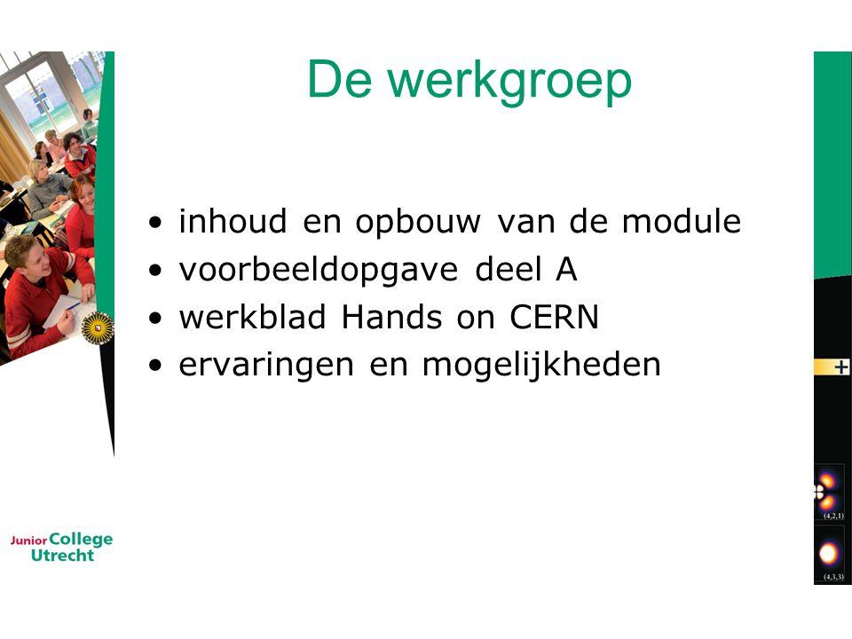 De werkgroep inhoud en opbouw van de module voorbeeldopgave deel A werkblad Hands on CERN ervaringen en mogelijkheden