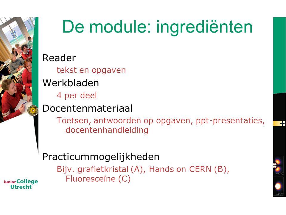 De module: ingrediënten Reader tekst en opgaven Werkbladen 4 per deel Docentenmateriaal Toetsen, antwoorden op opgaven, ppt-presentaties, docentenhandleiding Practicummogelijkheden Bijv.