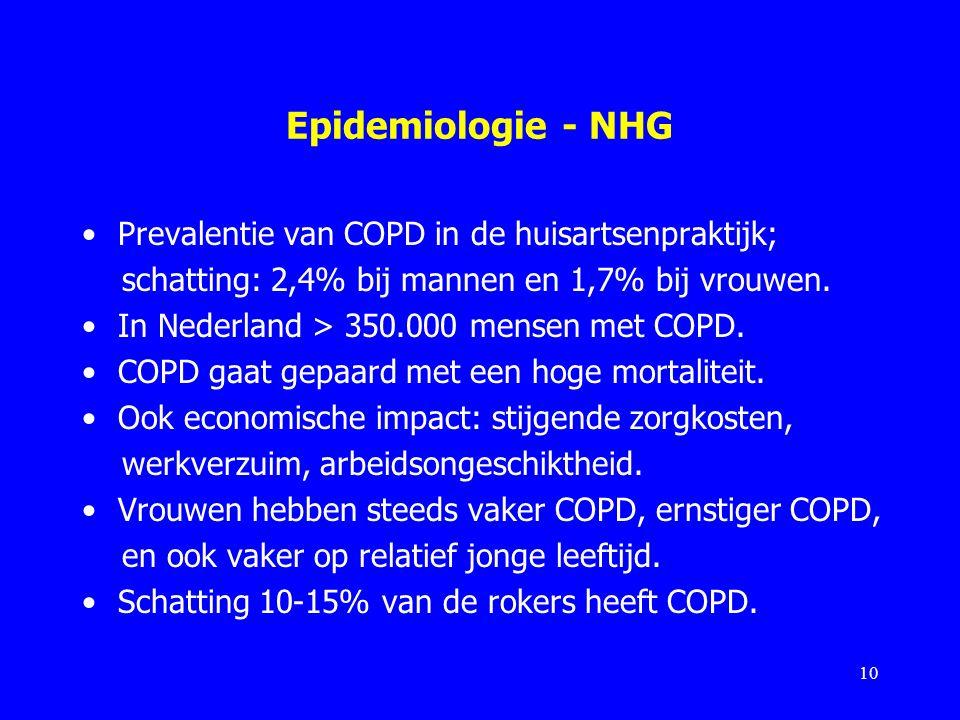 Epidemiologie - NHG Prevalentie van COPD in de huisartsenpraktijk; schatting: 2,4% bij mannen en 1,7% bij vrouwen. In Nederland > 350.000 mensen met C