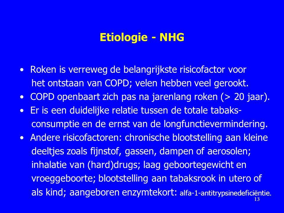 Etiologie - NHG Roken is verreweg de belangrijkste risicofactor voor het ontstaan van COPD; velen hebben veel gerookt. COPD openbaart zich pas na jare
