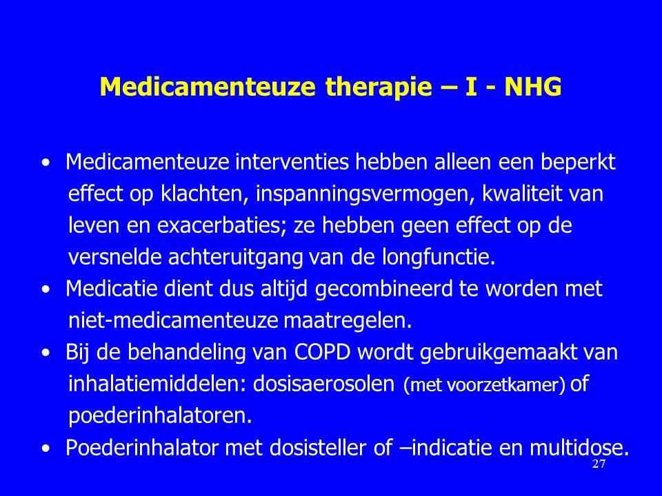 Medicamenteuze therapie – I - NHG Medicamenteuze interventies hebben alleen een beperkt effect op klachten, inspanningsvermogen, kwaliteit van leven e
