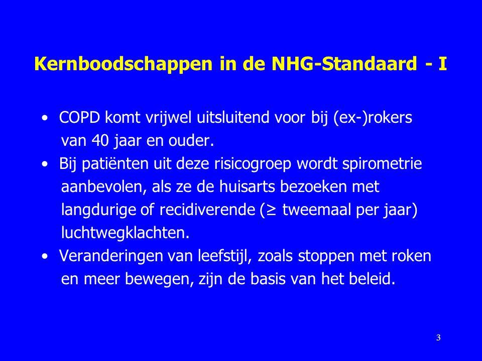 Kernboodschappen in de NHG-Standaard - I COPD komt vrijwel uitsluitend voor bij (ex-)rokers van 40 jaar en ouder. Bij patiënten uit deze risicogroep w